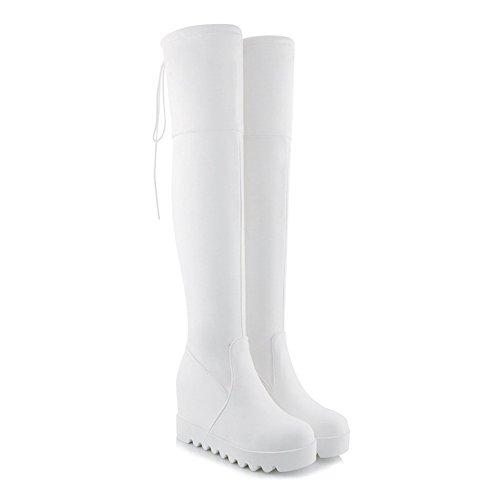 AgeeMi Shoes Mujer Sin Cordones Puntera Cerrada Tacón Alto PU Cuña Boots Blanco