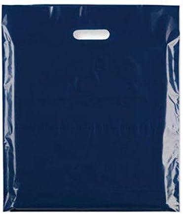 Sabco - Bolsas de transporte fuertes, 100 bolsas de plástico de alta calidad de 20,32 x 30,48cm, con asa, color azul oscuro