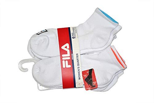 FILA 6PK WOMENS ATHLETIC SOCKS, White, Medium (4-10)