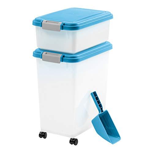 IRIS 3Piece Airtight Pet Food Container Combo, Blue