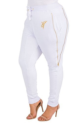 Poetic Justice Plus Size Curvy Women's French Terry Gold Zippers Jogger Pants Size 3X White
