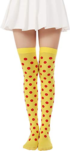 Over Knee Long Striped Stockings Saint Patrick's Day Socks Costume Thigh High Tights(03 Dots Yellow Red stockings)