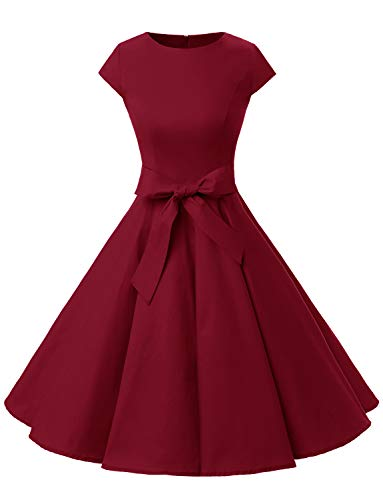 Dressystar DS1956 Vintage 1950s Retro Rockabilly Prom Dresses Cap-Sleeve L Dark Red