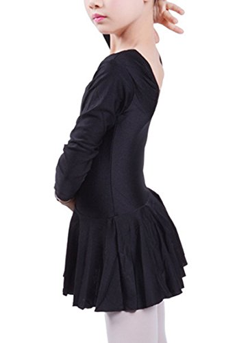 Baby Girls Black Leotard Ballet Dance Dress Long Sleeve Costume Breathable Stretchable Skirt XXL - Black Costumes For Dance