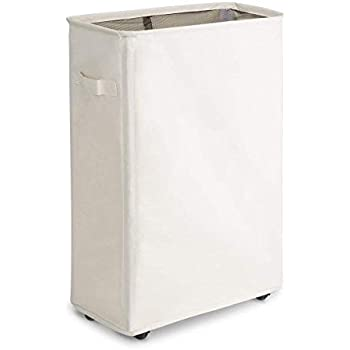 Chrislley 45L Slim Hampers for Laundry Collapsible Rolling Laundry Basket with Wheels Narrow Dirty Clothes Laundry Hamper Home Rectangle Corner Bin(Beige 1)