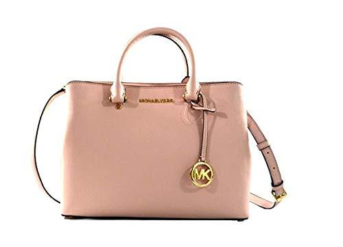 Michael Kors Savannah Saffiano Leather Large Satchel Crossbody Bag Purse Handbag (Blossom) ()