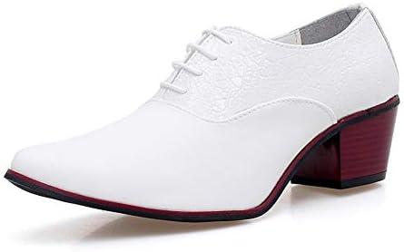 男性用クラシックオックスフォードビジネスドレスシューズレースアップマイクロファイバーレザーポインテッドトゥブロックヒールアンチスリップステッチエンボス YueB HAB (Color : 白, サイズ : 25.5 CM)