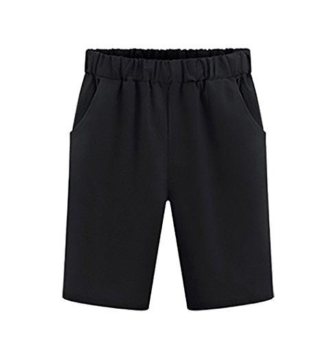Moda Forti Comode Colore Puro Plus Casual Sciolto Taglie Donna Size Nero Basic Pantaloncini Estivi Shorts Bermuda HnwqxBtvC