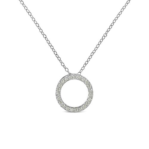 Original Classics Sterling-Silver Diamond Hoop Circle Pendant Necklace (1/4 cttw, I-J Color, I2-I3 Clarity) (Classic Diamond Circle Pendant)