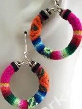 Manta Hoop Earrings Made In Peru Woven Fabric Chincheros Fair Trade Cuzco from Sanyork Fair Trade