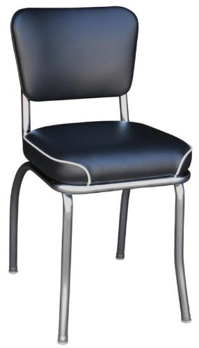 Richardson Seating Retro 1950s Chrome Waterfall Seat Diner Side Chair in Black