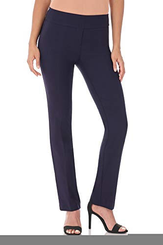 - Rekucci Women's Ease in to Comfort Straight Leg Pant with Tummy Control (4,Navy)