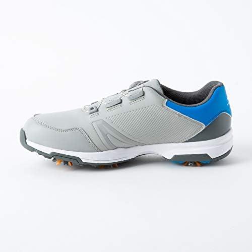 メンズ ゴルフシューズ ソフトスパイク (TR0S1058) ダイヤル式 4E グレー×ブルー