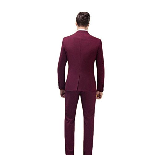 Mys uomo Custom Made Classic notch Suit pantaloni Tie set bordeaux