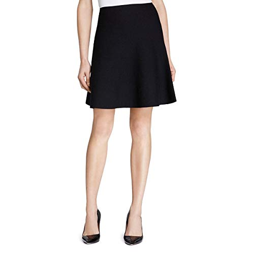 Theory Womens Lotamee Wool A-Line Knit Skirt Black P