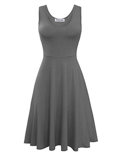 TAM WARE Womens Casual Fit and Flare Floral Sleeveless Dress TWCWD054-D155-GRAY-US M