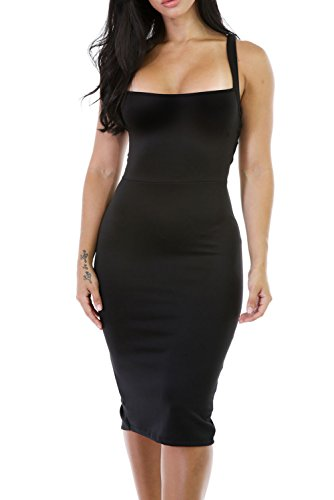 Alvaq Women's Sexy Backless Bodycon Midi Party Evening Dresses Medium Black (Party Sexy)