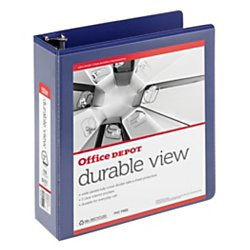 Recycled View Binder Letter (Office Depot(R) Brand Durable D-Ring View Binder, 3in. Rings, Letter Size, 60% Recycled, Blue)