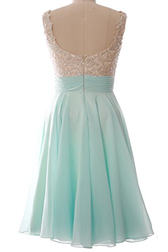 MACloth Women Straps Short Prom Dress Lace Chiffon Wedding Party Formal Gown Wisteria