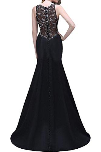 ivyd ressing pietre di alta qualità rotondi da donna colletto Mermaid Satin prom abito party abito da sera nero 44