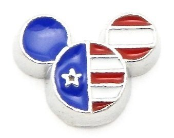 (Cherityne Mickey Mouse Head American Flag Floating Charm for Locket Pendants)