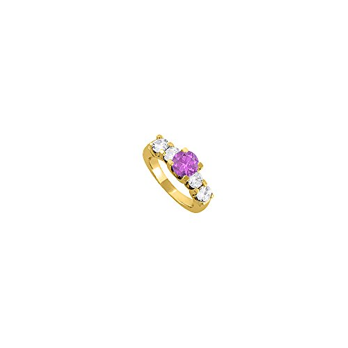 Coolest Jewelry Gift Amethyst and CZ Ring 2.25 TGW