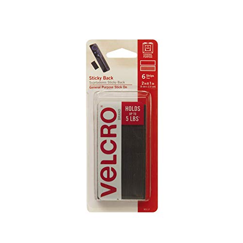 VELCRO Brand - Sticky Back Hook and Loop Fasteners | Perfect for Home or Office | 2in x 1in Strips | Pack of 6 | Black
