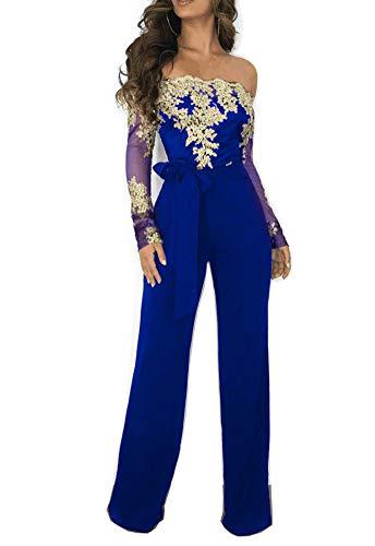 - Mycherish Water-Soluble Off Shoulder Sexy Floral Print Wide Leg Pant Jumpsuit Medium Blue