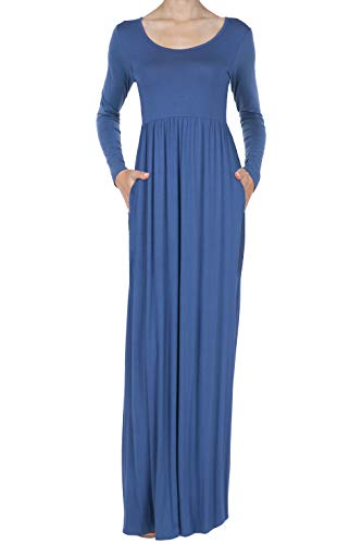 iliad USA 8016 Women's Long Sleeve Loose Plain Casual Long Maxi Dresses with Pockets Blue ()