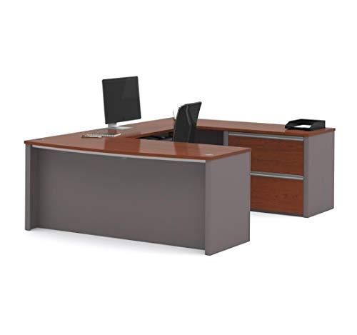 Bestar Connexion U-Shaped Workstation with Two Drawers, Bordeaux/Slate (Bordeaux 2 Drawer)