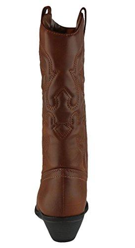 Cambridge Velg Womens Cowboy Western Spiss Tå Kne Høye Trekk På Faner Støvler Mørk Brunfarge Vachette Pu