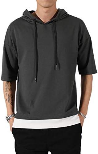 メンズ Tシャツ 半袖 無地 七分袖 パーカー おしゃれ 大きいサイズ カットソートップス フード付き インナー 春 秋 ゆったり カジュアル プルオーバー