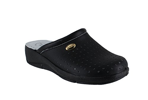San Malo Womens Leather Clogs Kitchen Garden Heeled Mules Shoes - Main Colour: Black | Shoe Size: UK 6.5