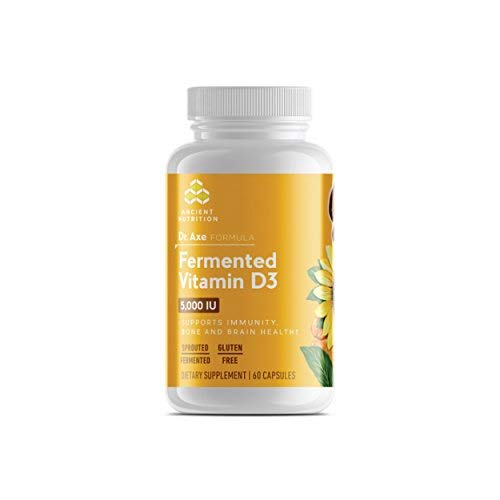 Ancient Nutrition Fermented Vitamin D3, 60 Capsules - Supports Immunity, Bone and Brain Health - Dr. Axe Formula