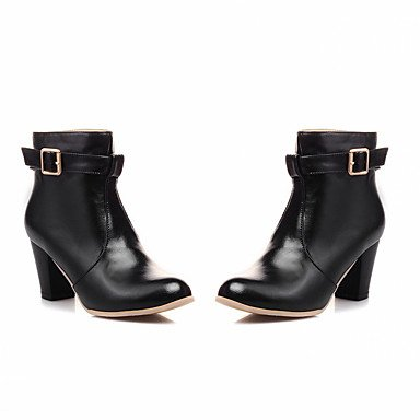 UK5 5 Leatherette amp;Amp; For Booties Shoes 5 Ankle RTRY Boots Heel Party Boots Fall CN38 Buckle Round Pu Boots Novelty Winter Comfort Fashion Women'S US7 Chunky Toe EU38 w4q1t