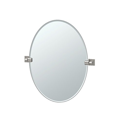 Gatco 4079 Elevate Frameless Oval Mirror, Satin Nickel, 26.5