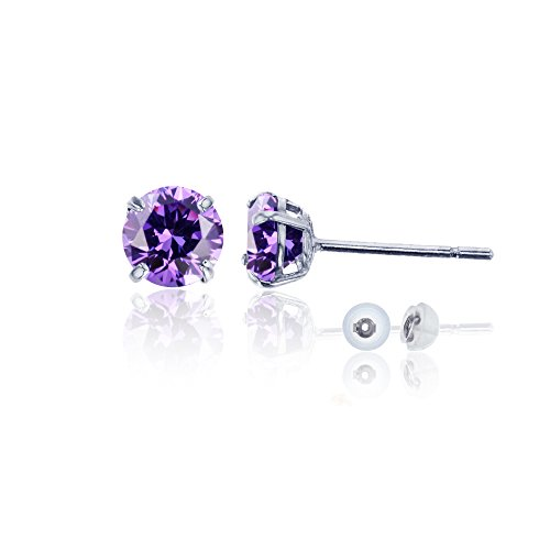 14K White Gold 6mm Round Amethyst Stud ()