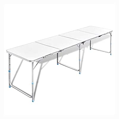 """K&A Company Camp Furniture, Foldable Camping Table Height Adjustable Aluminum 94.5""""x23.6"""""""
