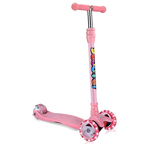 2 in 1 Scooter for Kids with Removable/Folding Seat, Kick Scooter 3 Wheel for Toddlers Girls & Boys - Adjustable Height, LED PU Flashing Wheels for Children Ages 2-14 (Pink-White Light)