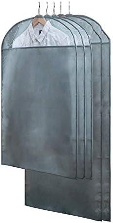 収納 洋服カバー衣類収納ケース ホコリ防止 出し入れラクラク 5枚セット不織布ガーメントバッグスーツバッグ旅行や衣類用のドレスドレスシャツコートジッパーと透明窓が含まれています大きいサイズ+中サイズ (Color : Gray, Size : L+M)