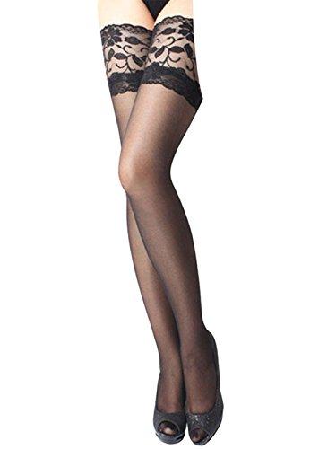 Damen Halterlose Strümpfe mit breiten Spitze Schwarz
