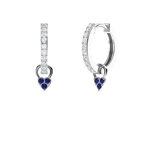 - Diamondere Natural and Certified Diamond Huggie Earrings with a Dangling Blue Sapphire Heart in 14K White Gold | 0.41 Carat Petite Earrings for Women