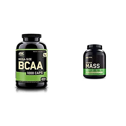 OPTIMUM NUTRITION Instantized BCAA Capsules, Keto Friendly Branched Chain Essential Amino Acids with Serious Mass Weight Gainer Protein Powder for Immune Support, Vanilla