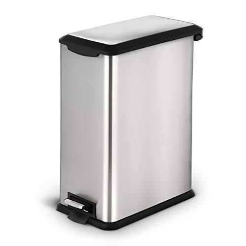 Pull Step Two Rectangular Foot (Home Zone Stainless Steel Kitchen Trash Can with Rectangular and Step Pedal | 45 Liter / 12 Gallon Storage with Removable Plastic Trash Bin Liner, Silver)