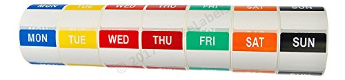 (1 Set (7 Rolls, 1 per Day) of Day of The Week Labels (500 Labels per roll, 40mmx40mm) - BPA Free!)
