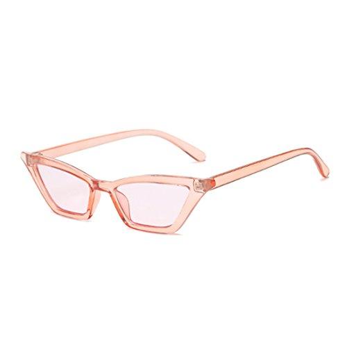 sol Gafas mujeres retro de gato de de Gafas Gafas pequeñas de Rosado vintage ojo sol Inlefen vintage marco plástico XfAEn