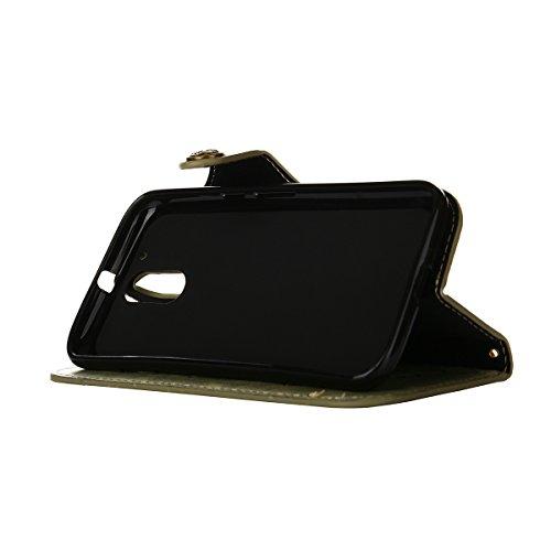 MEIRISHUN Leather Wallet Case Cover Carcasa Funda con Ranura de Tarjeta Cierre Magnético y función de soporte para Motorola Moto G4 - Azul Verde claro