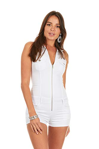 Cover Girl Denim Romper Jeans Shorts Zip Up Sleeveless Cute and Sexy Plus Size 3XL White