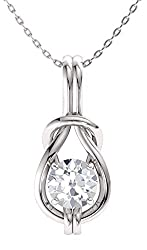 Infinity Knot Solitaire Gemstone Necklace in White Gold