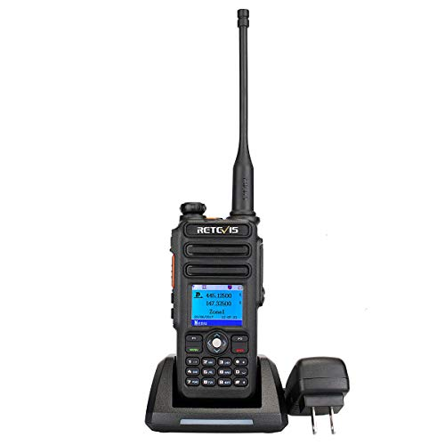 Retevis RT82 DMR Radio Dual Band Digital Two Way Radio Record SMS Alarm LCD Color Display 3000 CH 10000 Contact Waterproof Ham Amateur Radio 1 Pack